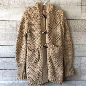 Oatmeal colour basketweave knit cardigan